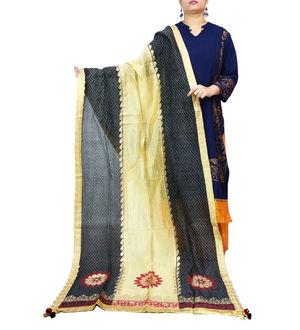 Black Beige Handpainted Silk Dupatta