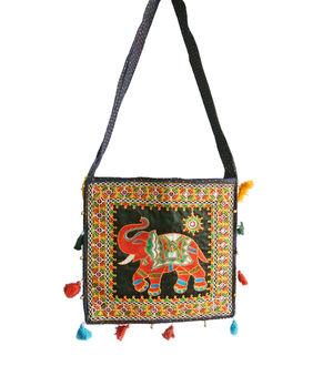 Black Hand Embroidered Multi Color Shoulder Bag