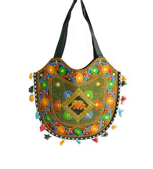 Black Hand Embroidered Shoulder Bag