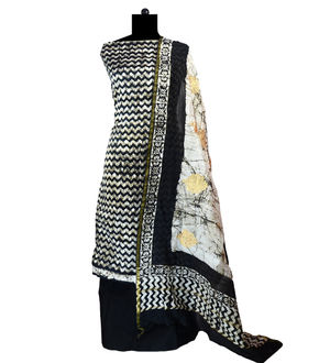 Black Maheshwari Cotton Suit With  Zari Work Dupatta