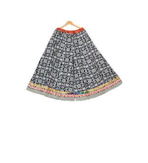 Black Self Printed Jaipuri Cotton Sharara Divider Palazzo Pants