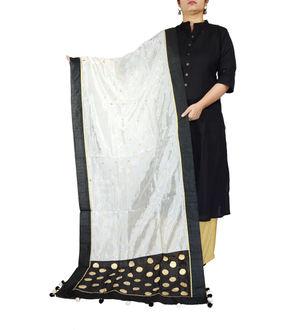 Black White Khadi Work Silk Dupatta