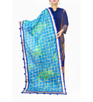 Blue Cotton Silk khadi Work Dupatta