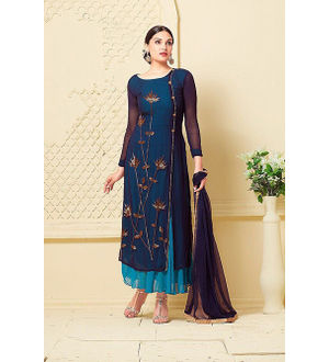 Blue Georgette Handwork Dess