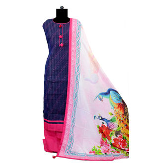 Blue Magenta Suit With Peacock Silk Printed Dupatta