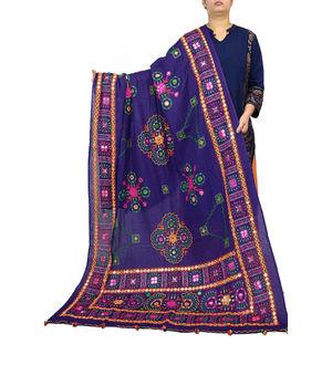 Purple Multi Color Aari Work Cotton Dupatta