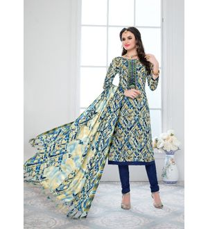 Blue Multi Color Pashmina Suit With Embroidery