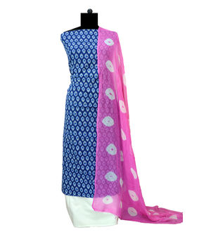 Blue Pink Block Printed Cotton Suits