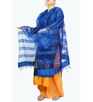 Blue Transpatent Full Work Dupatta