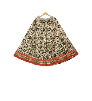 Brown Self Printed Jaipuri Cotton Sharara Divider Palazzo Pants