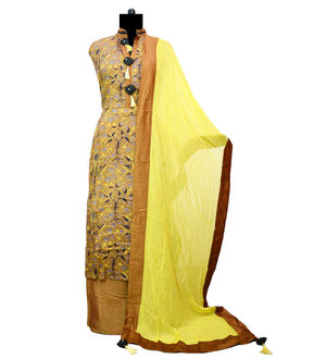 Brown Yellow Modal Cotton Designer Suit With Dupatta