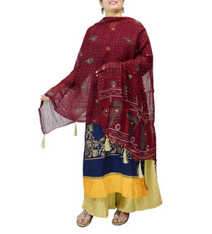 Chiffon Maroon Feather Printed Dupatta