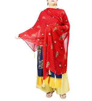 Chiffon Red Feather Printed Dupatta