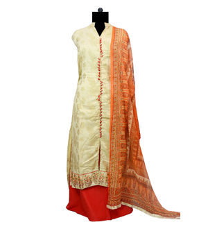 Cotton Beige Golden Designer Suit With Dupatta