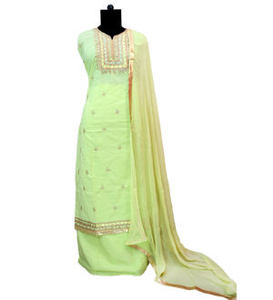 Cotton Green Metal Embroidered Suit With Pure Chiffon Dupatta