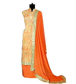 Cotton Orange Khadi Work Suit With Pure Chiffon Dupatta