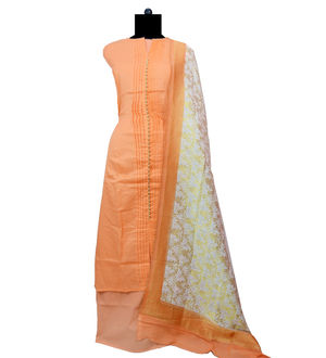 Cotton Peach Designer Suit With Banarsi Dupatta