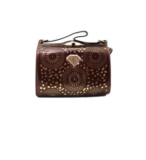 Eleegance Brown Cut Work Handbag