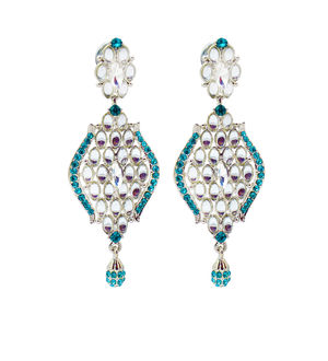 Formal Danglers Sea Green With Kundan Work
