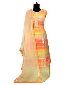 Formal Khadi Work Embroidered Multi-Color Suit With Pure Chiffon Stole Dupatta