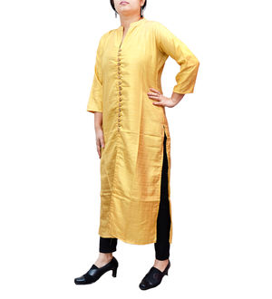 Golden Sillk Kurta With 17 Wooden Button With Front Cut