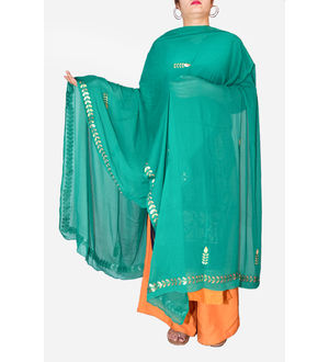 Gotta Patti Green Color Chiffon Dupatta