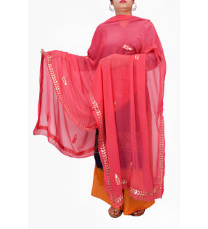 Gotta Patti Red Color Chiffon Dupatta