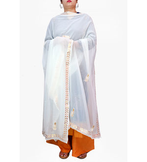Gotta Patti White Color Chiffon Dupatta