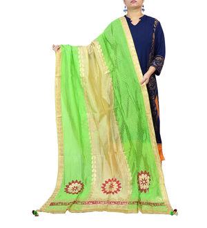 Green Beige Handpainted Silk Dupatta