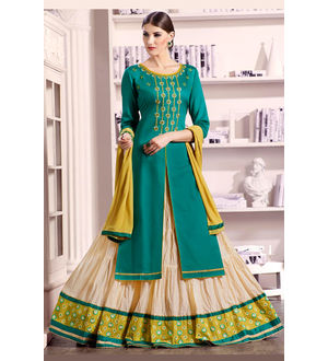 Green Beige Lengha Style Pure Cotton Suit With Dupatta
