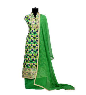 Green Black Gotta Embroidered Cotton Suit With Pure Chiffon Dupatta