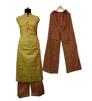 Green Brown Multi Color Soft Cotton Kurta Palazoo