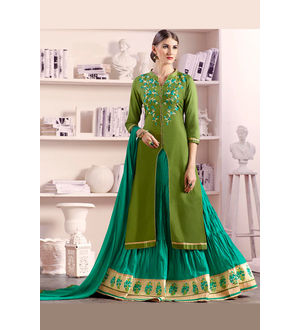Green Light Green Lengha Style Pure Cotton Suit With Dupatta
