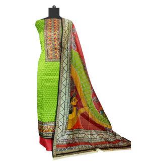 Green Maheshwari Suit With Maheshwari Printed Dupatta
