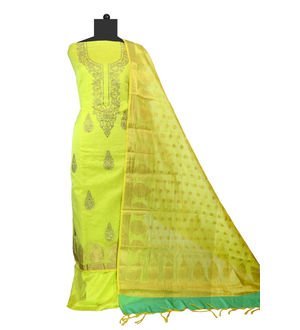 Green Maheshwari Work Suit With Banarsi Work Dupatta
