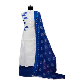Grey Blue Embroidered Maheshwari Suit With Full Work Dupatta