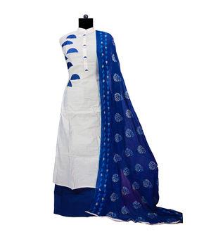 Grey Blue Embroidered Maheshwari Suit With Full Work Dupatta