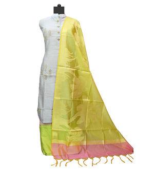 Grey Green Maheshwari Suit With Banarsi Work Dupatta