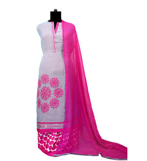 Grey Magenta Thread Work Georgett Suit With Palazoo