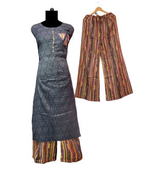 Grey Multi Color Soft Cotton Kurta Palazoo