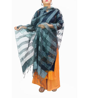 Grey Transpatent Full Work Dupatta