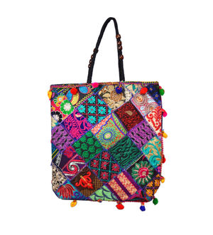 Handicraft Ethnic Printed Patchwork Black Handbag