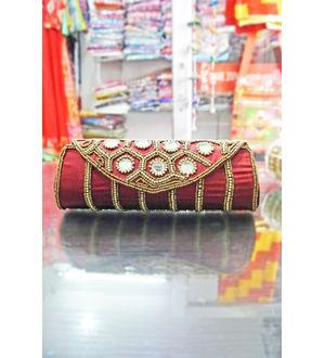 Handmade Women Mirror Work Red Clutch