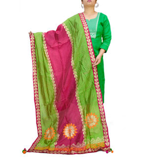 Handpainted Silk Green Magenta Dupatta