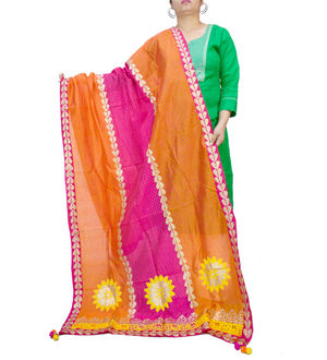Handpainted Silk Orange Magenta Dupatta