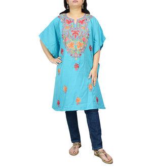 Kashmiri Aqua Blue Cambric Cotton Traditionally Embroidered Kaftan