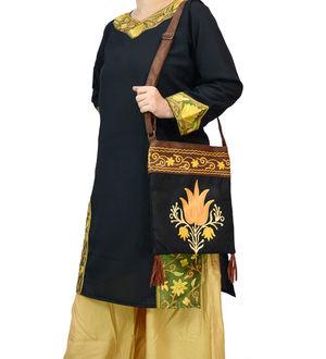 Kashmiri Black Embroidered Suede Sling Bag