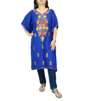 Kashmiri Blue Cambric Cotton Traditionally Embroidered Kaftan