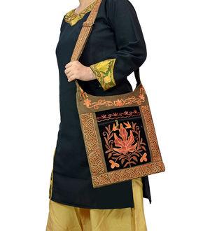 Kashmiri Brown Black Chinar Embroidered Suede Shoulder Bag