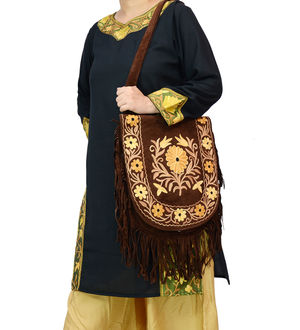 Kashmiri Brown Multi-Color Embroidered Suede Shoulder Bag